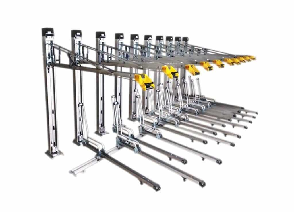high density double deck bike bicycle rack hydraulic lift assist ux21