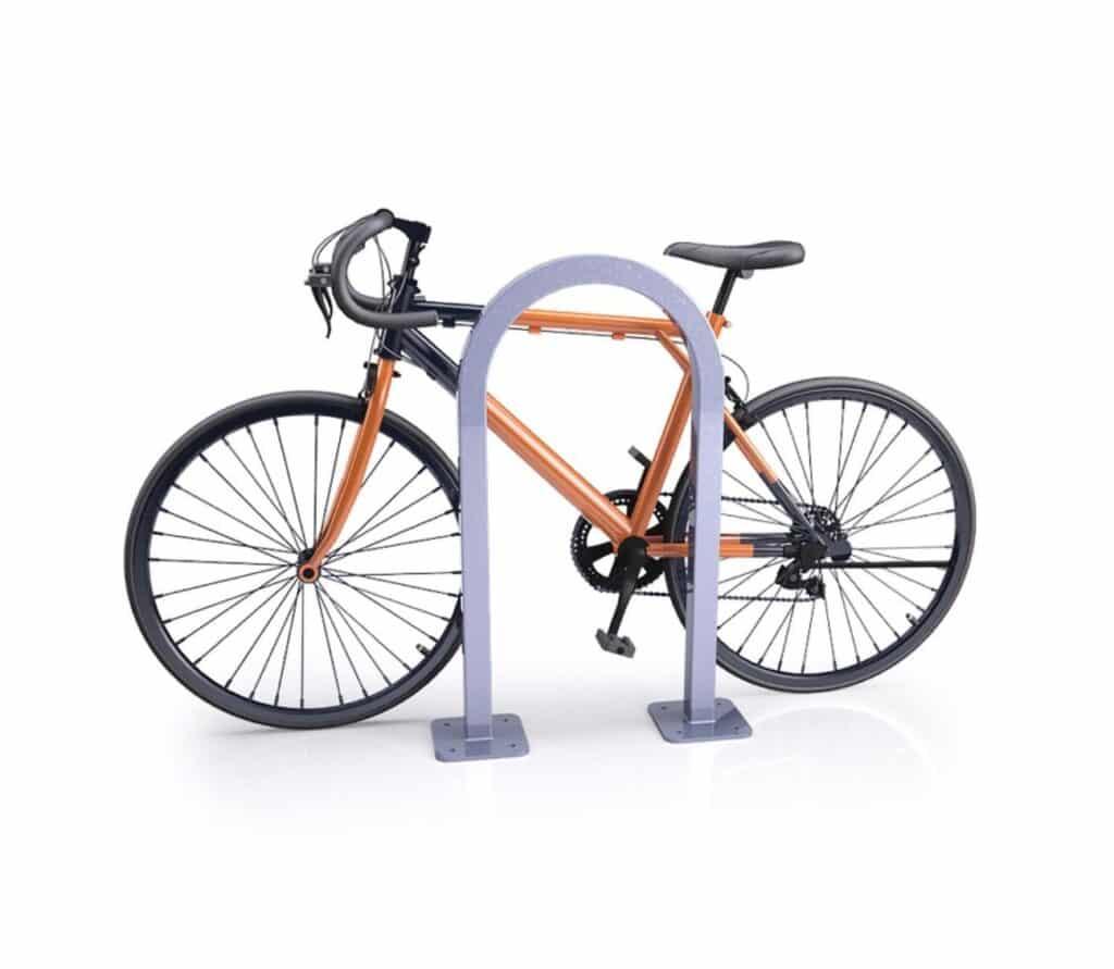 DBRP_SQ square inverted u sheffield staple sidewalk bike rack with orange back