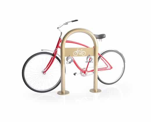 Wide inverted u sheffield staple sidewalk bike rack with red back