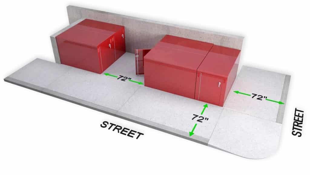 DL1 Bike locker cycle storage sidewalk setback planning