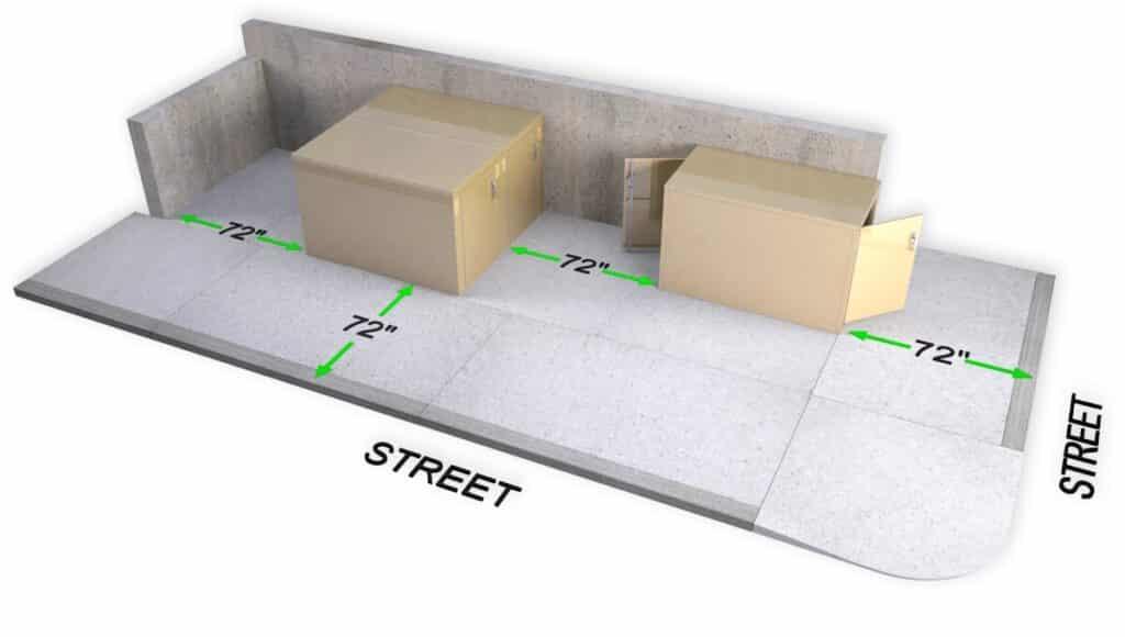 DL2 Double Bike locker cycle storage sidewalk setback planning