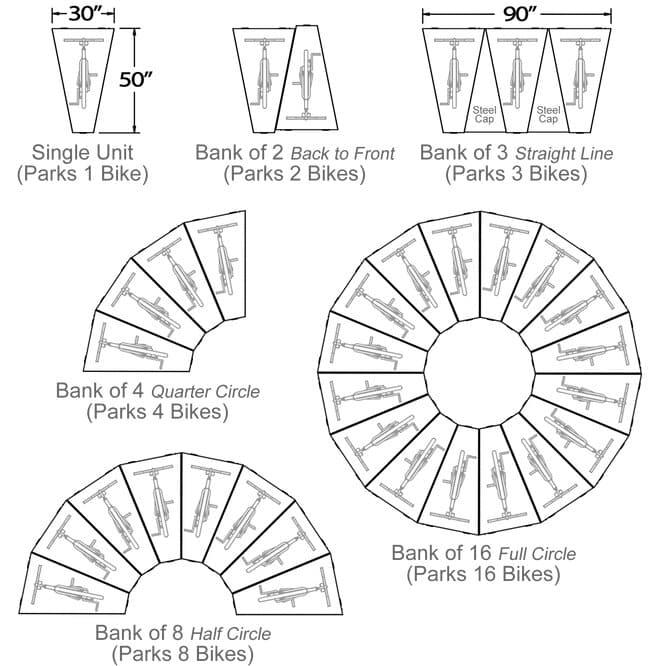 DLPV configuration diagrams1 to 16 bikes