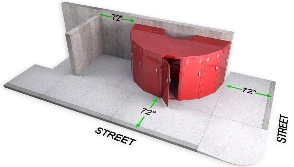 DLPV Bike locker cycle storage sidewalk setback planning