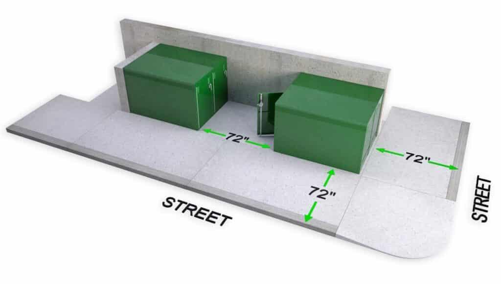 DLSP Bike locker cycle storage sidewalk setback planning
