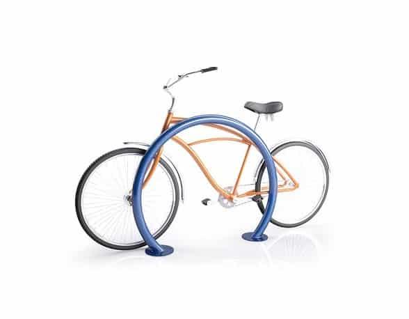 blue circular sidewalk bike rack with orange back omega model